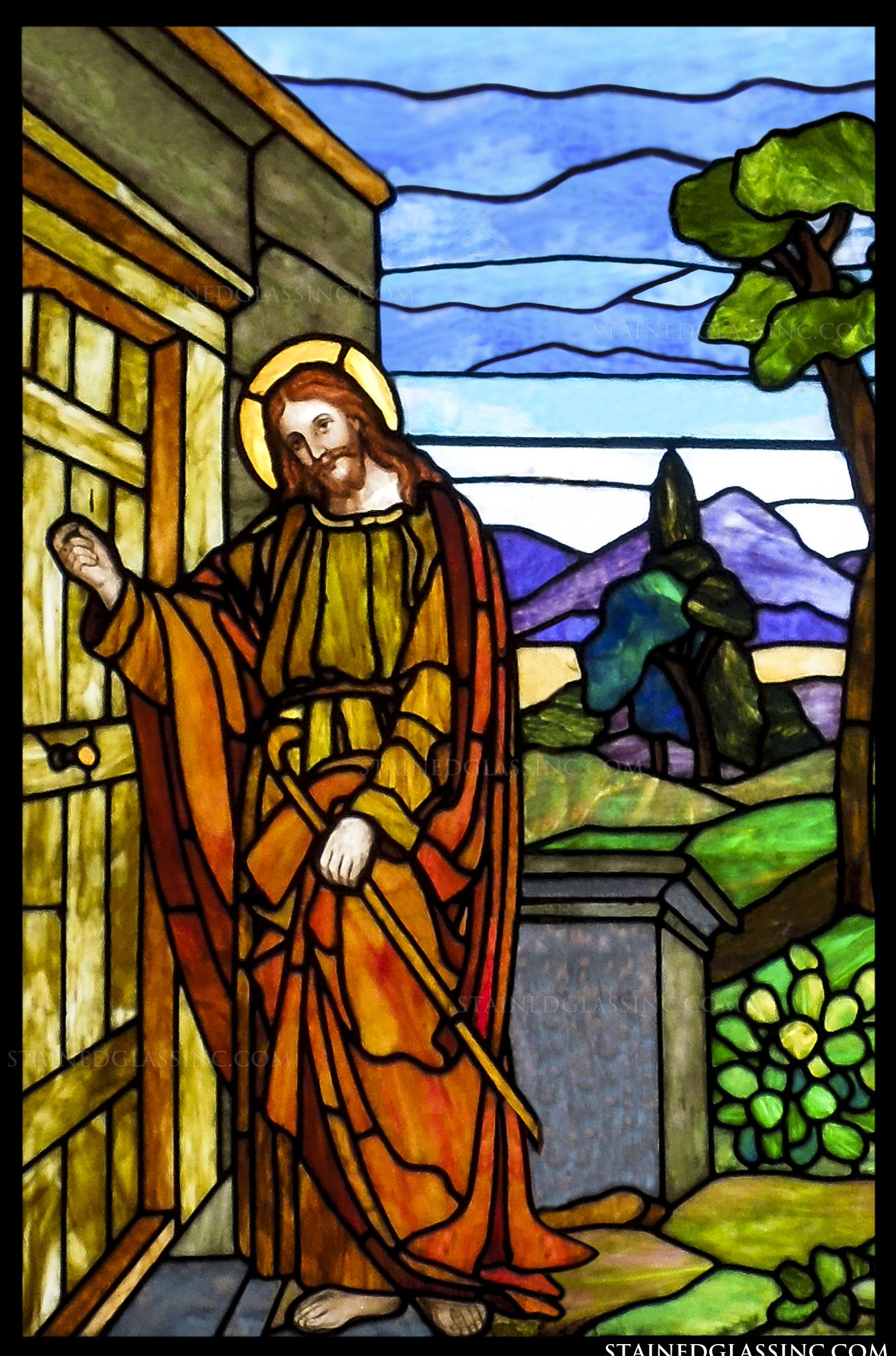 quotjesus is knockingquot religious stained glass window