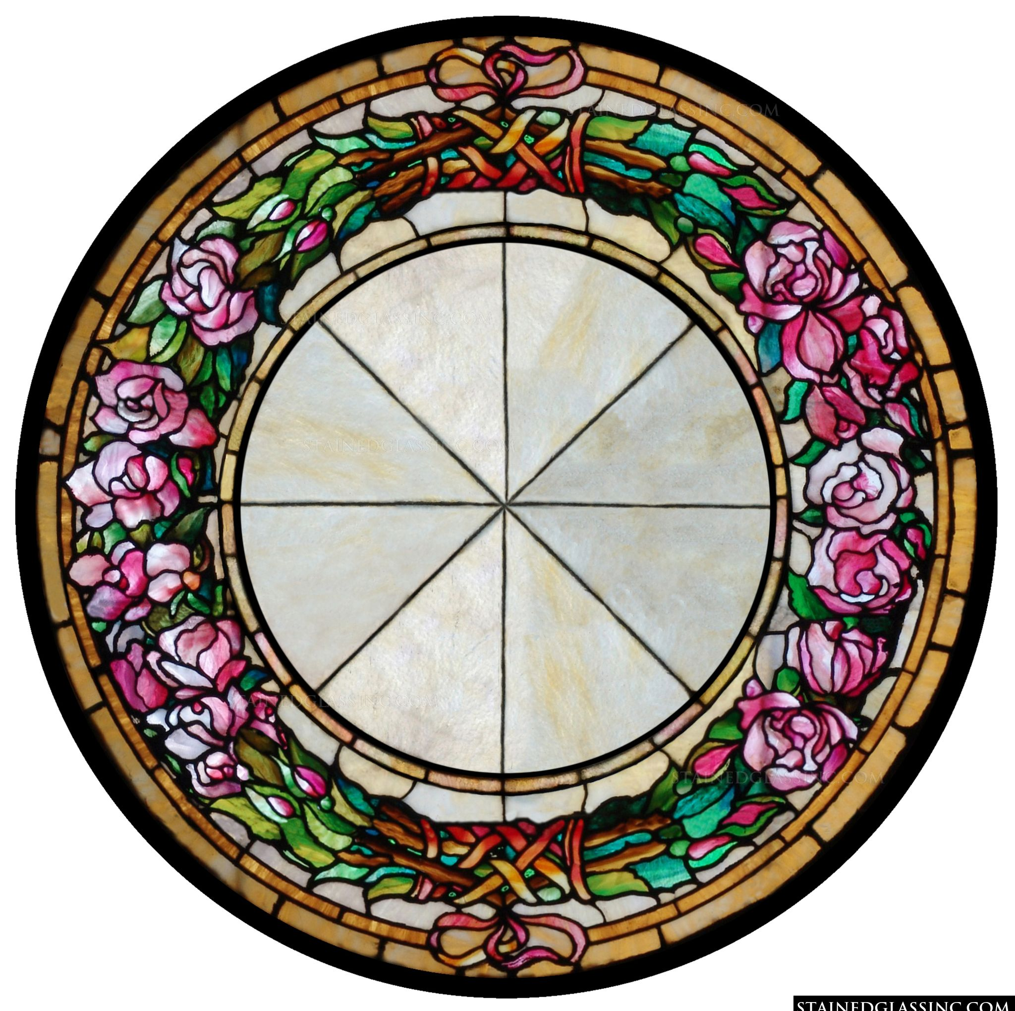 floral rose wreath stained glass window. Black Bedroom Furniture Sets. Home Design Ideas
