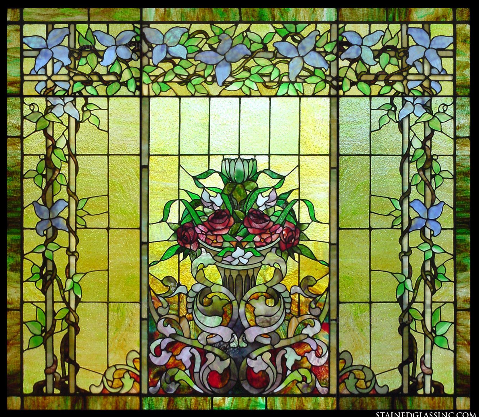 This Exquisite Stained Glass Window Panel Features Flowers And A Flowing Filigree Design Artwork Takes On The Classic Look Of Antique
