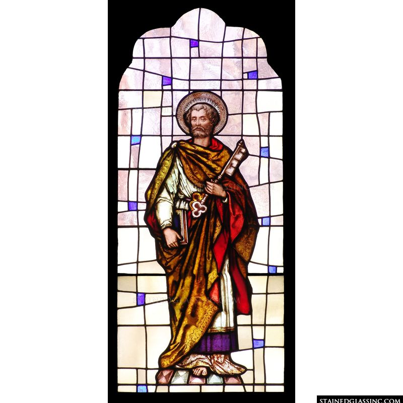 Saint Peter in stained glass.