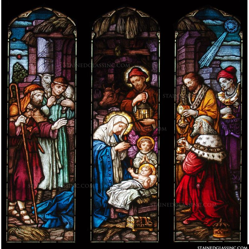 The Nativity Scene in stained glass.