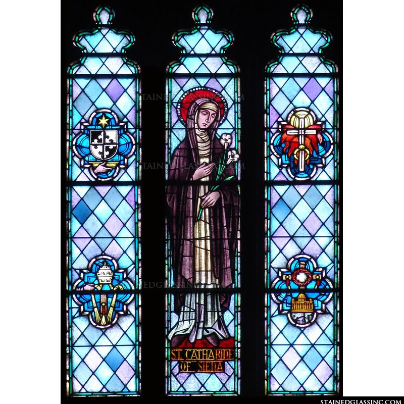 Saint Catherine Religious Stained Glass Window