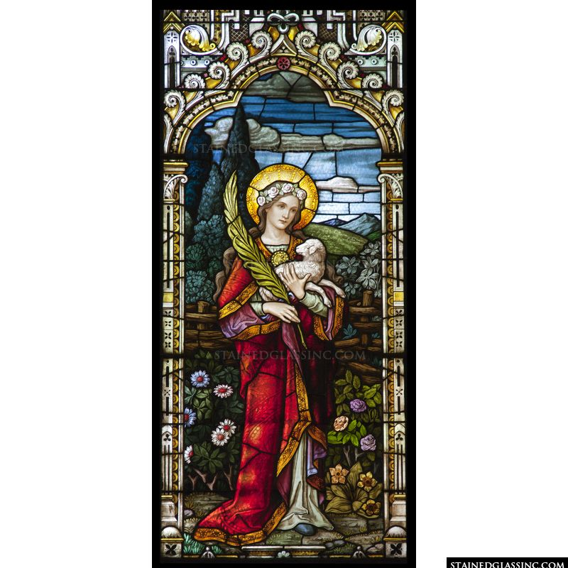 St Agnes in stained glass.