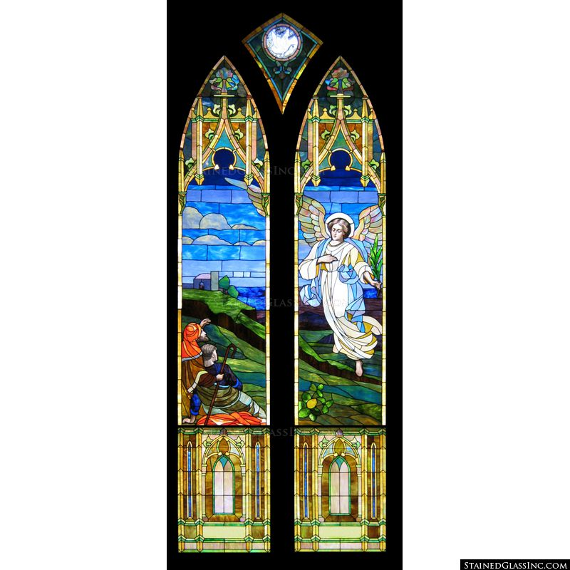 Stained glass image with shepherds and an angel.