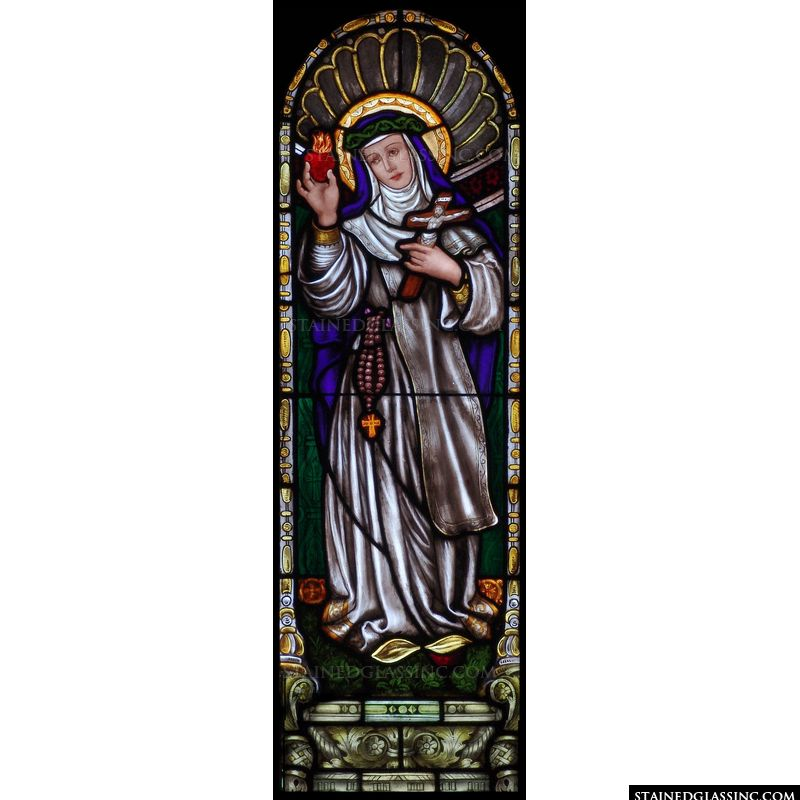 Saint Margaret Mary Alacoque in stained glass.