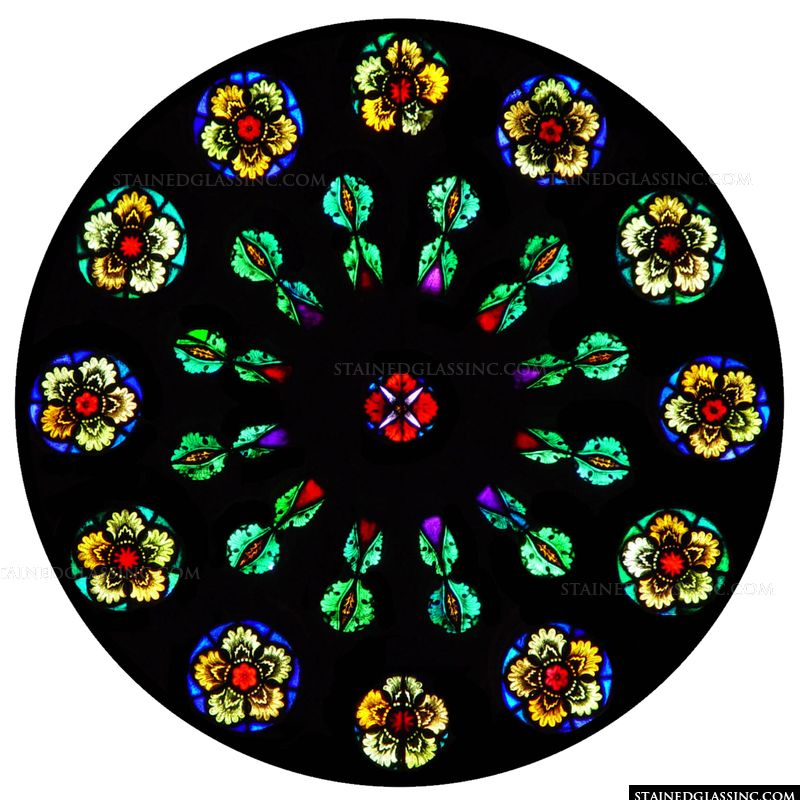 Colorful Flowers Rose Window