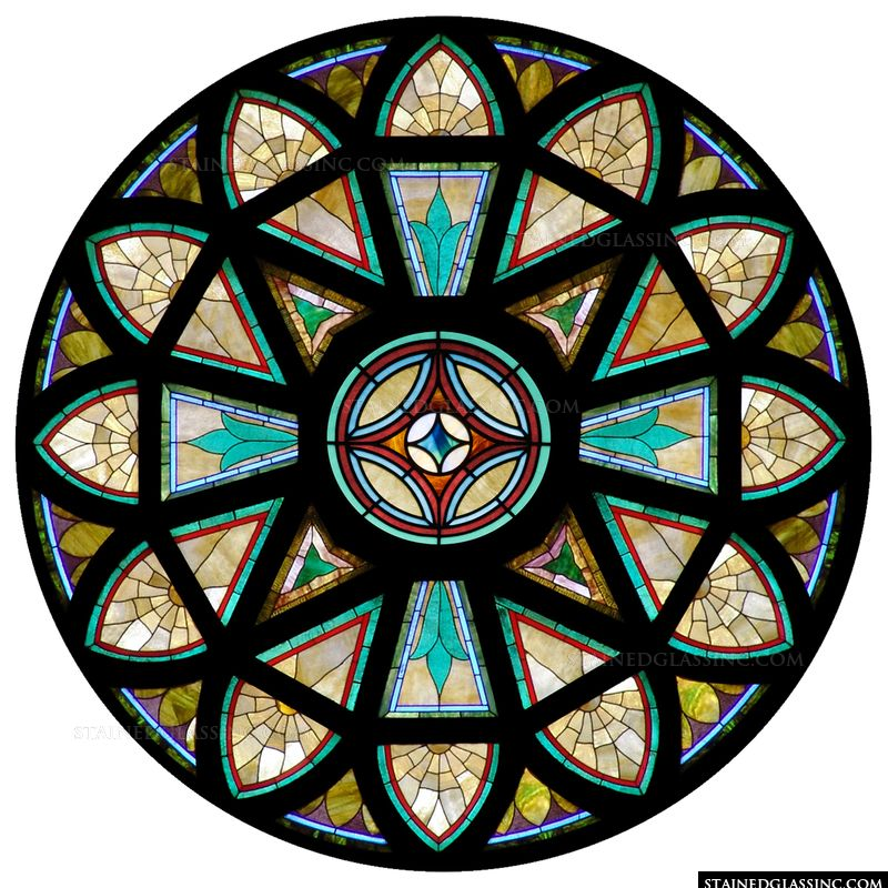 Stained glass dome style and design elegant and for Rose window design