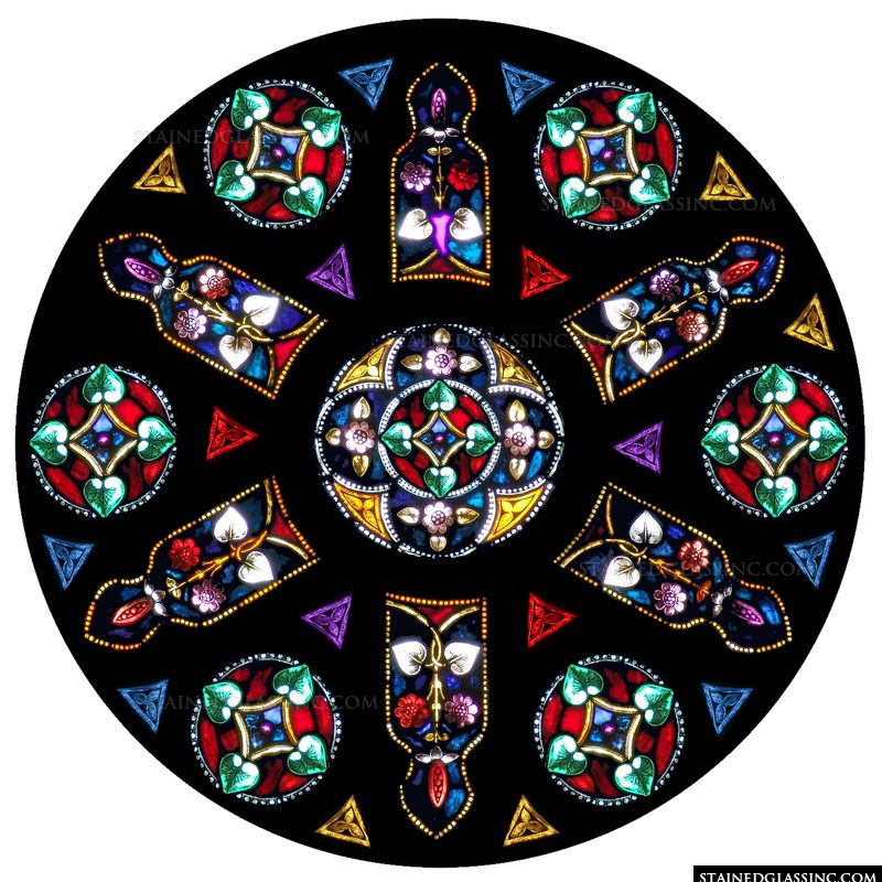 Colorful Floral Rose Window