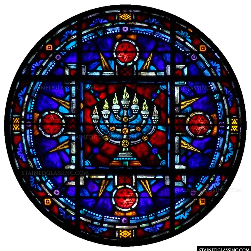 A colorful stained glass panel featuring a menorah.
