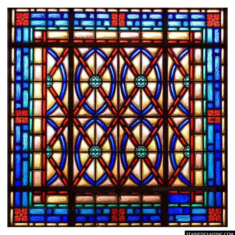 Blue and Red Lattice Window