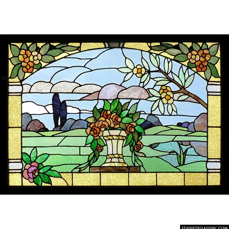 Stained glass window panel.