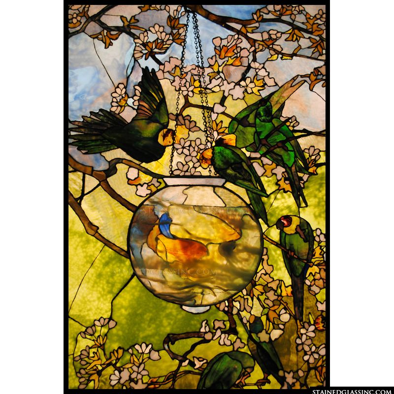 Parrots in Flowering Tree