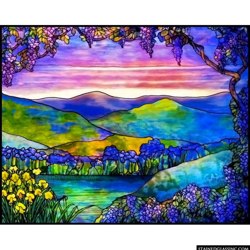 "Tiffany Blue Color Code >> ""Landscape of Sunset Colors"" Stained Glass Window"