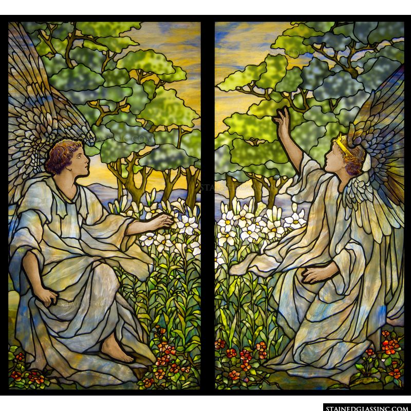 This Tiffany stained glass image features two angels in stained glass.