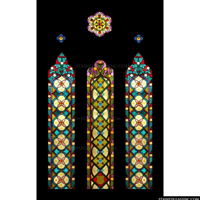 """Geometric Panels"" Stained Glass Window"