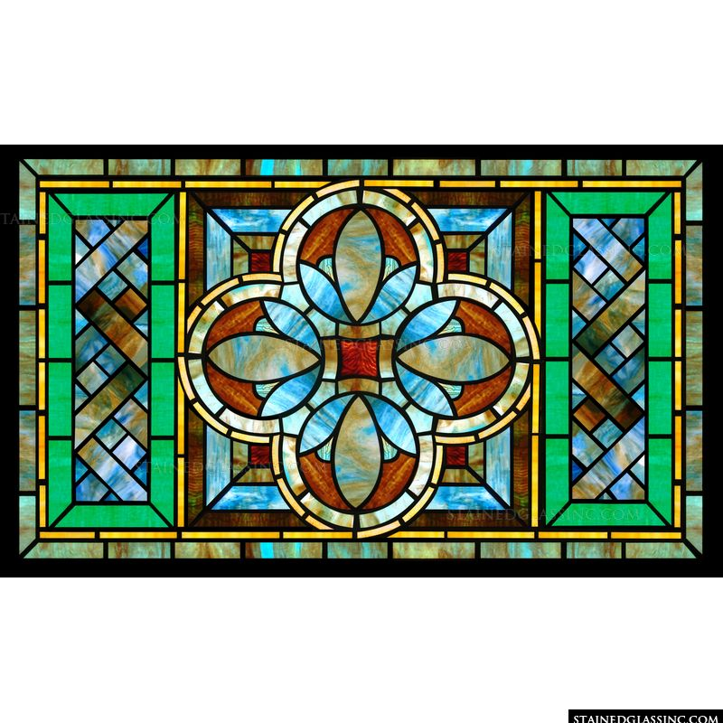 A beautiful geometrically patterned stained glass window panel is featured here. Stained glass panels like this one will look beautiful in your kitchen.