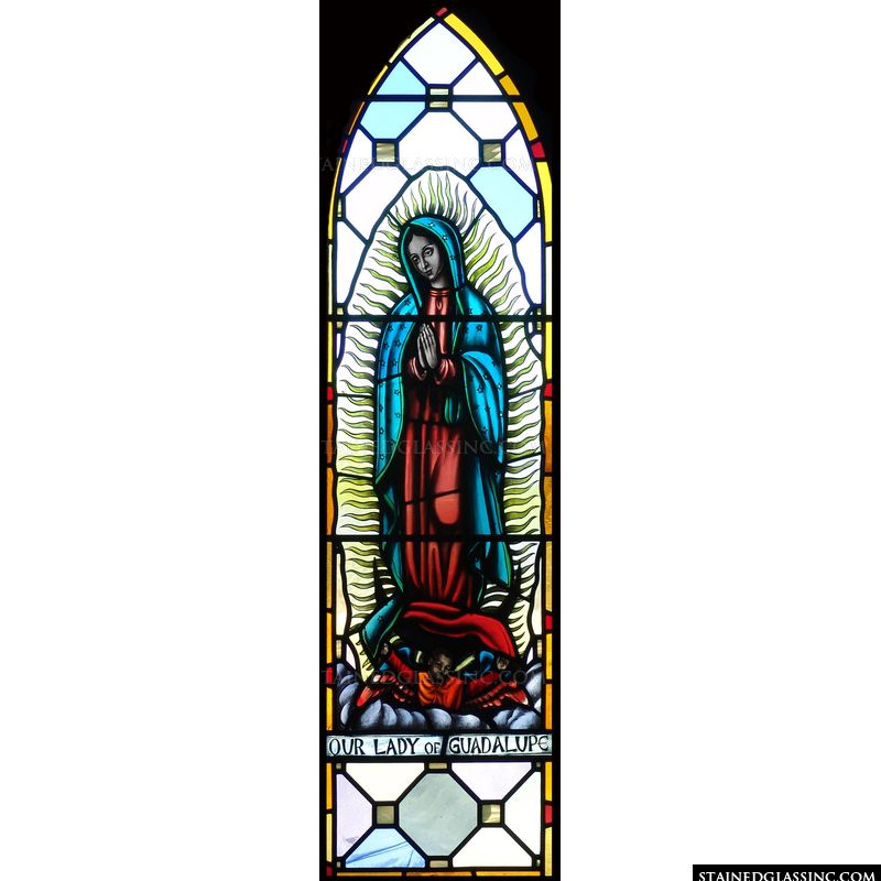 Stained glass design featuring Our Lady of Guadalupe