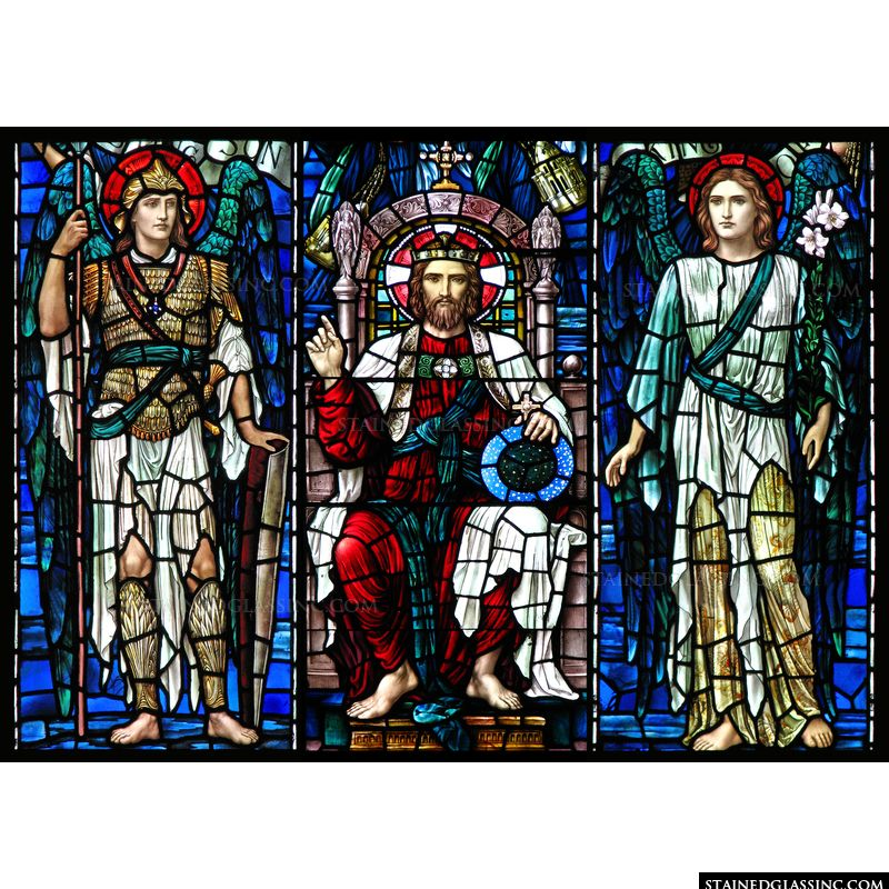 Christ is shown crowned and enthroned with angels at His side in this stained glass art.