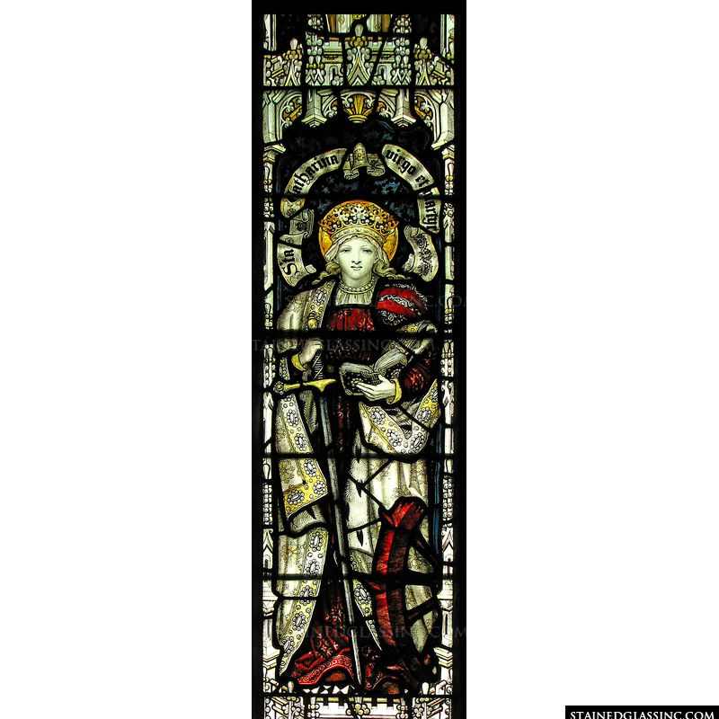 A beautiful stained glass window featuring Saint Catherine of Alexandria.