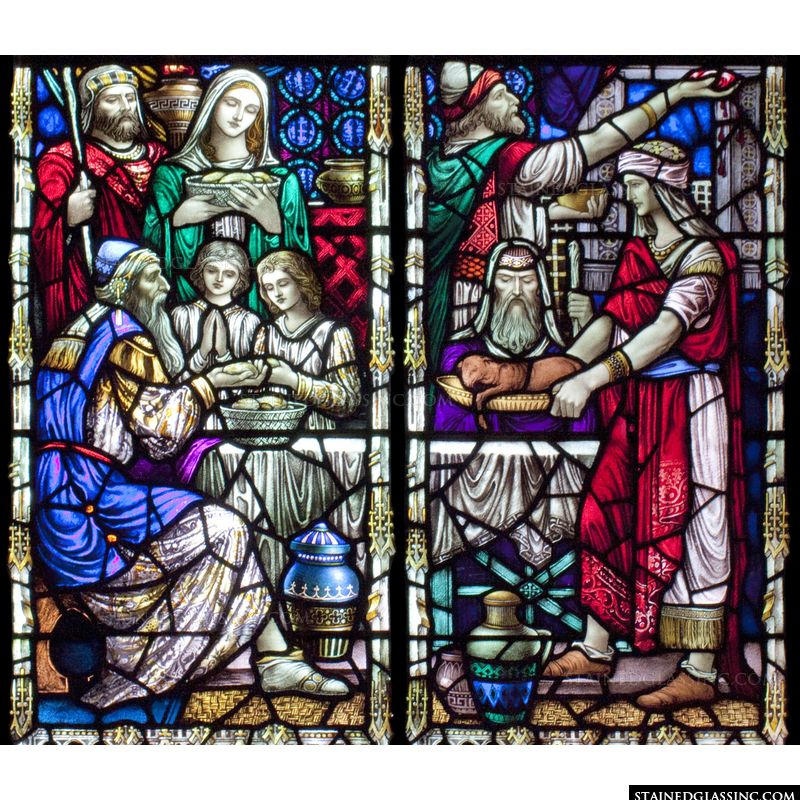 This stained glass window features Passover.