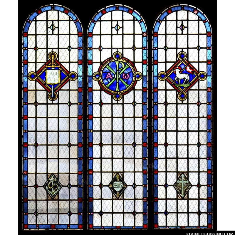 These Three Stained Glass Window Panels Featuring Christian Symbols Would Make An Excellent Set For Decorating Your Church Rather Than Distracting From