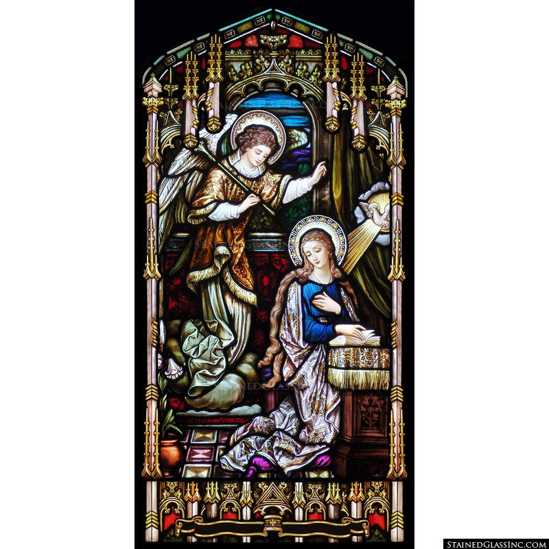 The annunciation of the Lord is pictured in shining stained glass.