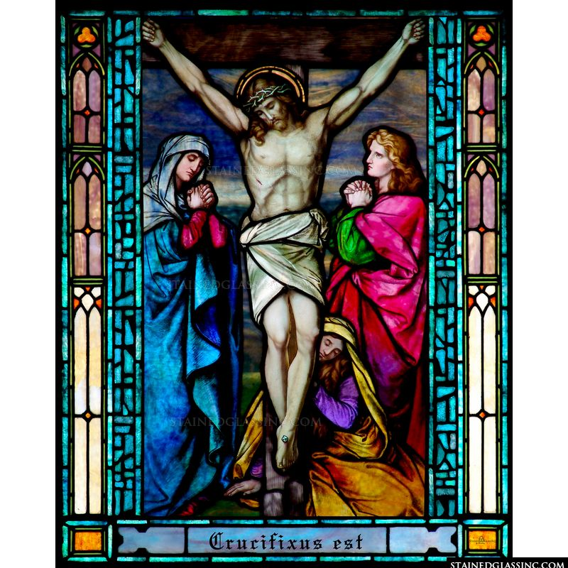 Christ's Crucifixion  in the Tiffany Style