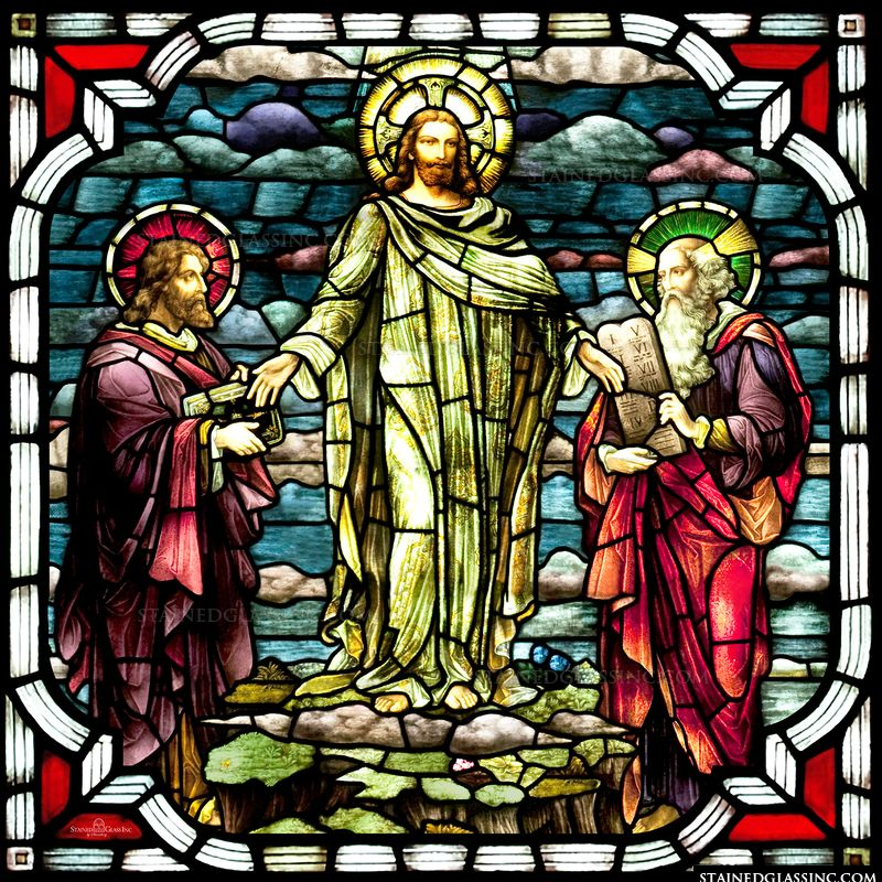 The Transfiguration of the Lord in stained glass.