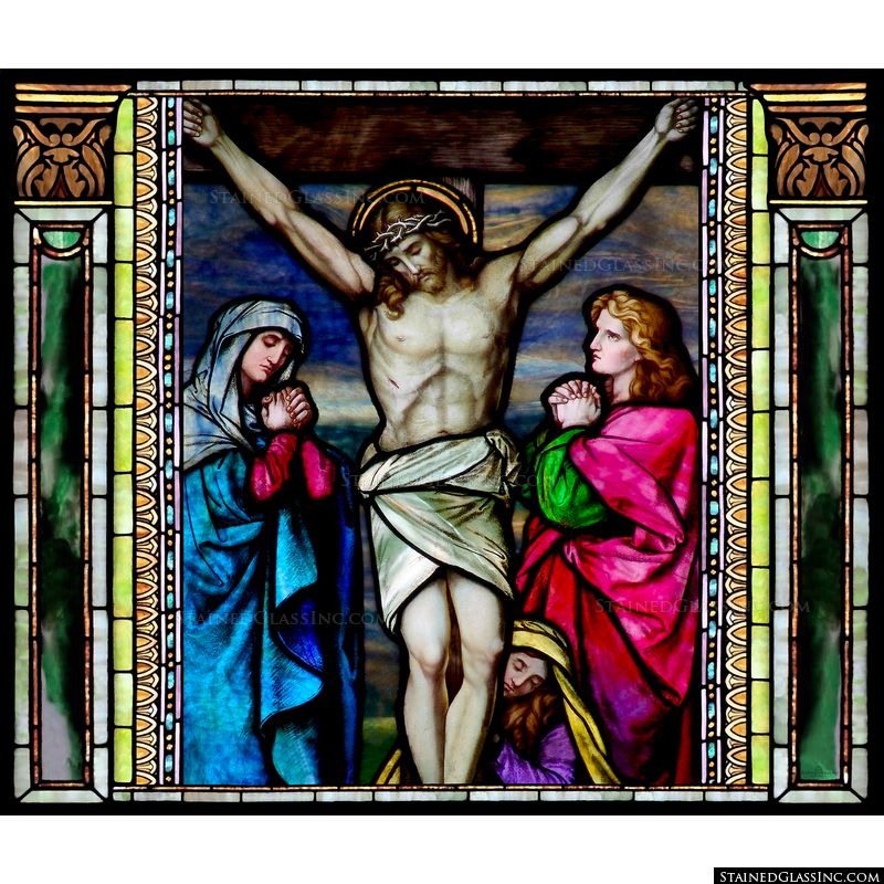 This Tiffany stained glass image features Christ on the cross with Mary and John at His feet.