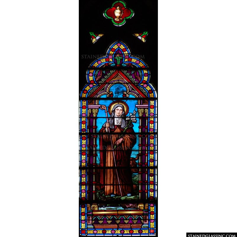 Saint Catherine of Siena in stained glass.