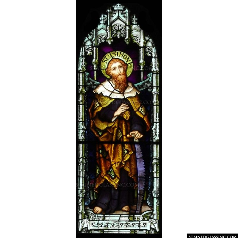 Stained glass image of Saint Simon.