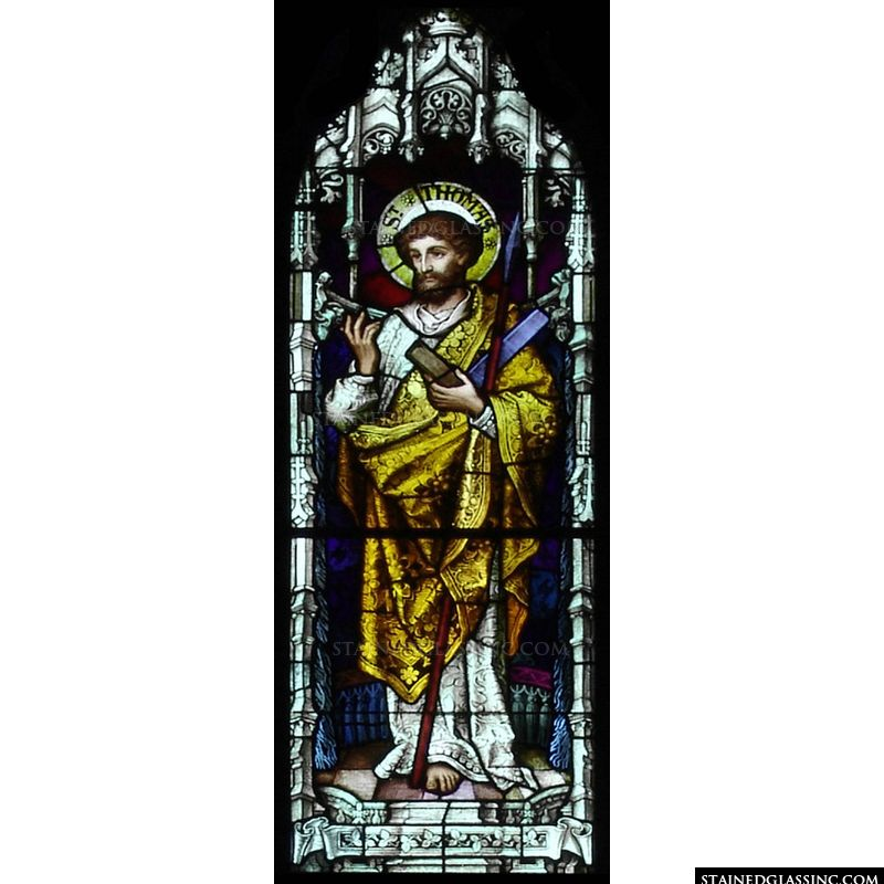 St. Thomas the apostle in stained glass.