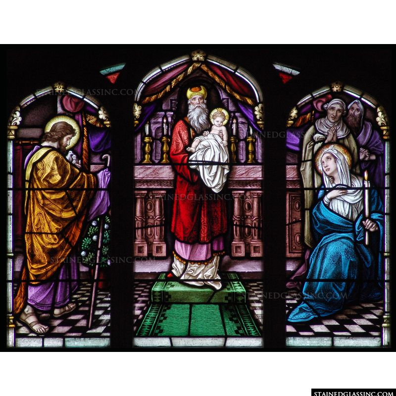 The Presentation of Christ is illustrated in this gorgeous stained glass artwork.