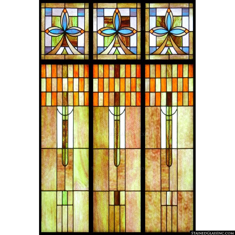 Frank Lloyd Wright stained glass from Stained Glass Inc. will shine beautifully in your home.
