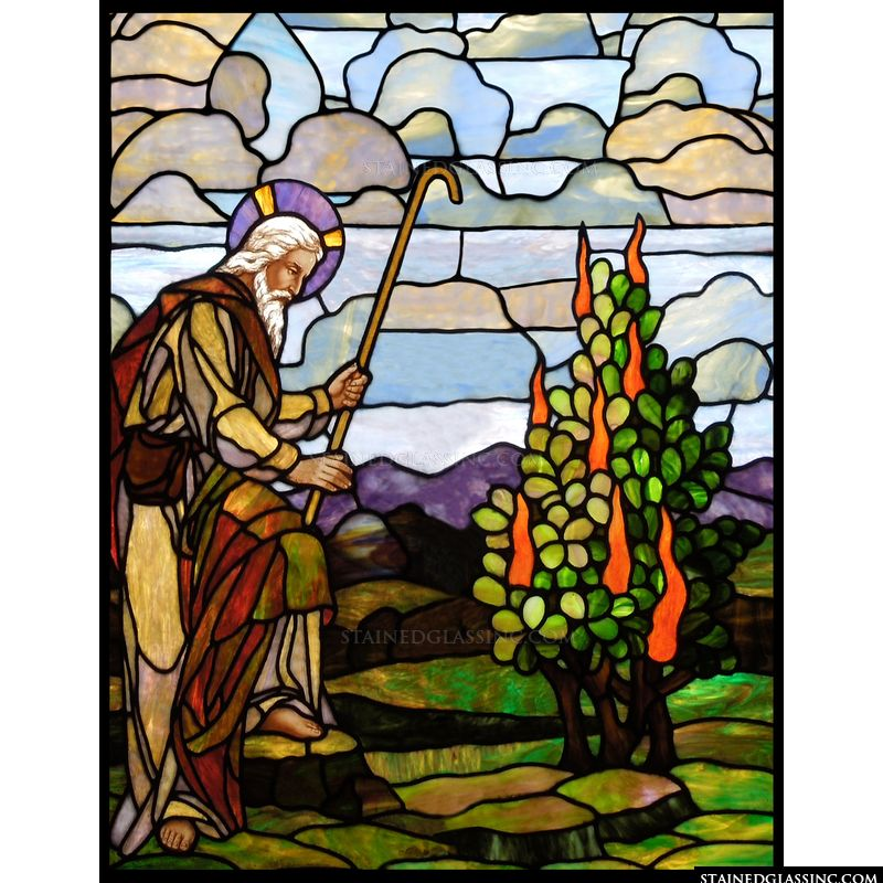 Moses in stained glass.