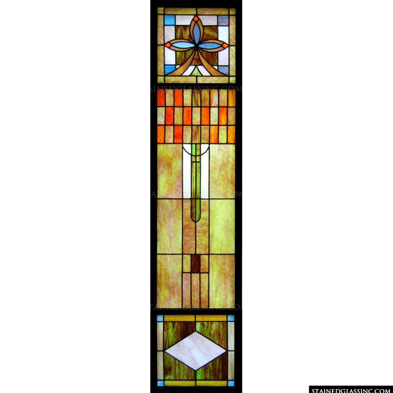 Art deco stained glass window.