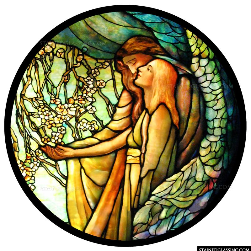 Stained glass image with an angel.