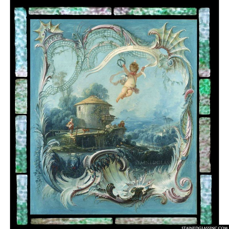 The Enchanted Home - A Pastoral Landscape Surmounted by Cupid