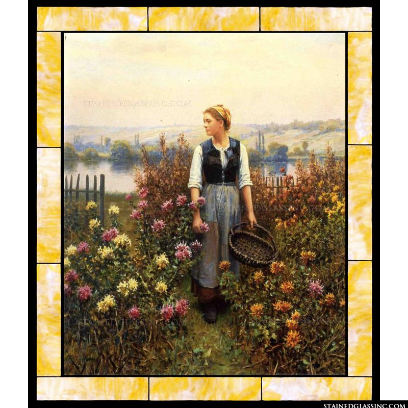 Girl with a Basket in a Garden