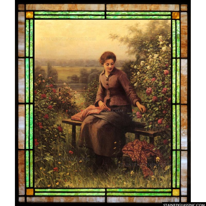 Seated Girl with Flowers