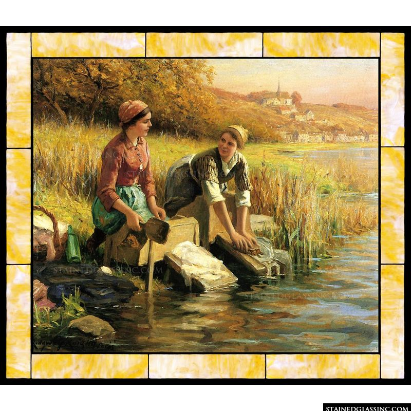 Women Washing Clothes by a Stream
