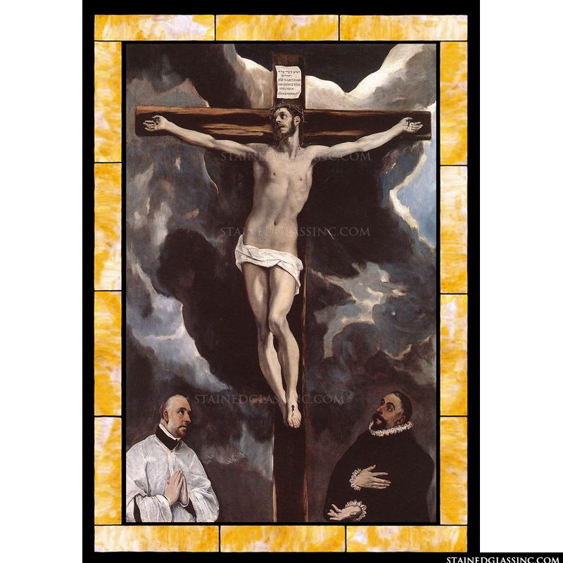 Christ on the Cross Adored by Donors