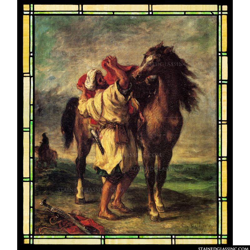 A Moroccan Saddling a Horse