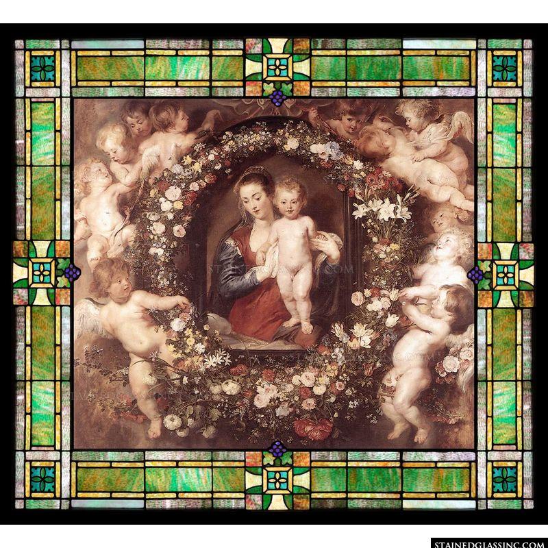 Madonna in Floral Wreath