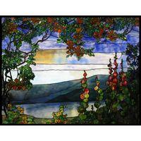 Lake with Hollyhocks