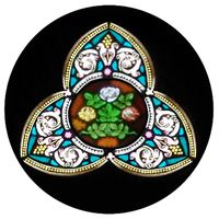 Unique Floral Stained Glass Window Insert