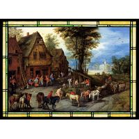 A Village Street with the Holy Family Arriving at an Inn