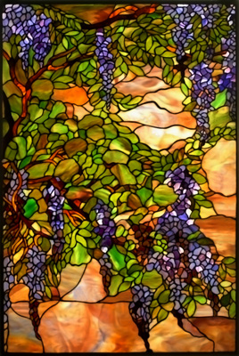 Wisteria vines are illustrated on a marblesque background