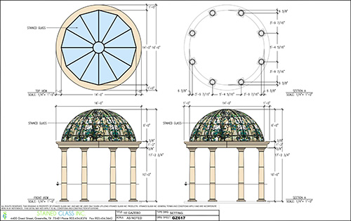 A blueprint of a gazebo