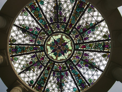 A stained glass dome as the roof of a gazebo
